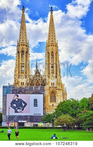 Vienna, Austria-september 10, 2015:votive Church Is A Neo-gothic Church Located On The Ringstrasse I