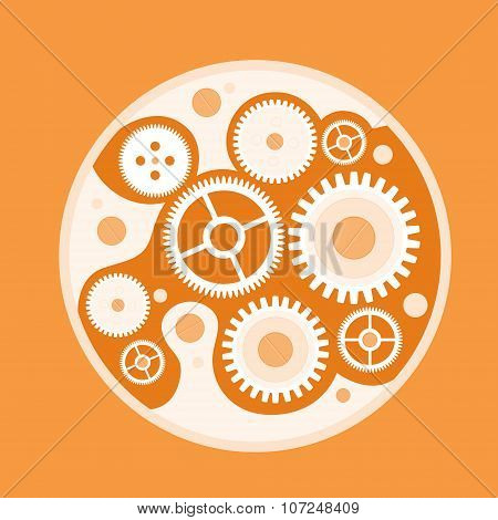Cog Wheel Mechanical Detail Part Sketch Flat Vector