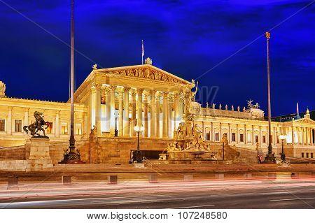 Parlament Of Austria, In Central Of Vienna. Austria.
