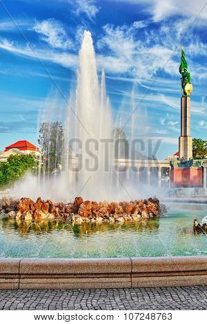 Soviet War Memorial In Vienna. Formally Known As The Heroes Monument Of The Red Army. Vienna. Austri