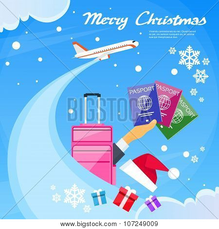 Passport Icon Hand Hold Travel Document New Year Vacation Christmas Trip Booking Air Plane Flight