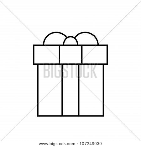 Gift Box Thin Line Minimalistic Hand Draw Logo Present Outline