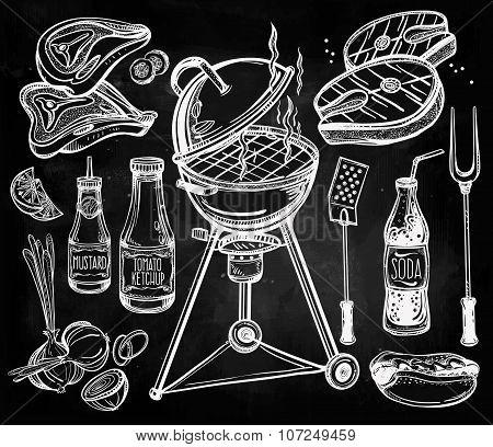 Barbecue food set line art.