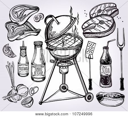 Barbecue food set line art.