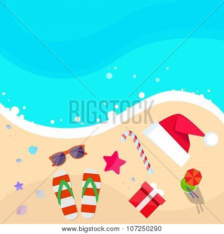 Christmas Santa Hat on Ocean Beach Flip-flops Sand Sea Star Starfish