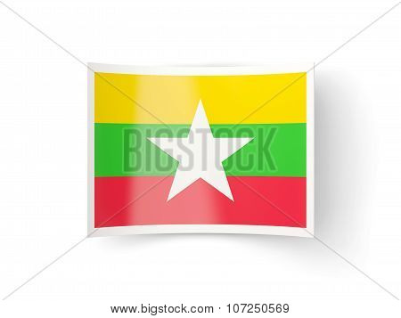 Bent Icon With Flag Of Myanmar