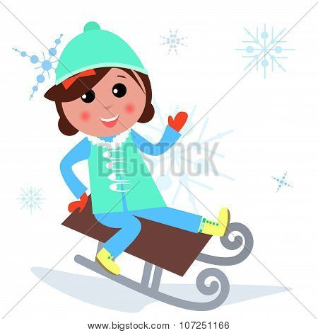 Cute girl is playing at Winter