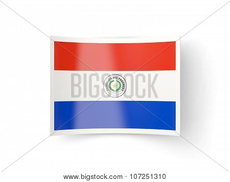 Bent Icon With Flag Of Paraguay