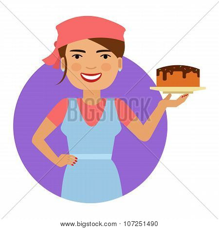 Smiling female confectioner with cake
