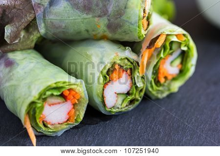 Vietnamese Spring Roll With Vegetable And Crab Stick