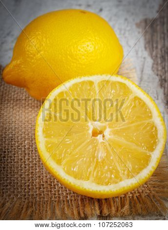Vintage Photo, Fresh Lemon On Old White Wooden Table, Healthy Food And Nutrition
