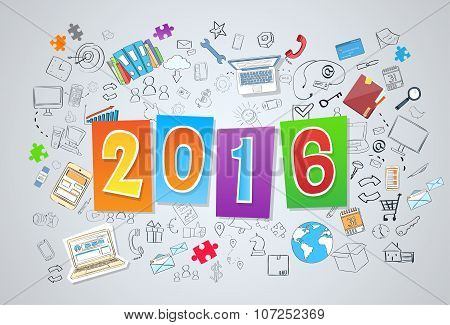 2016 New Business Year Doodle Hand Draw