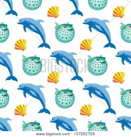 Seamless Pattern With Dolphin And Fish Ball Coral