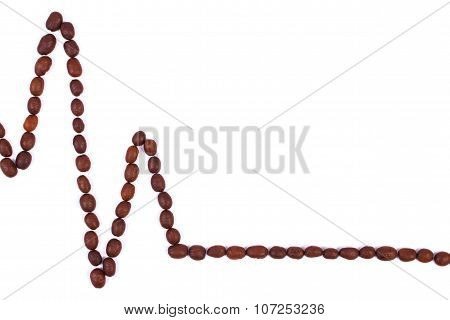 Cardiogram Line Of Roasted Coffee Grains, Medicine And Healthcare Concept