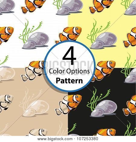 Four Options Seamless Pattern With Tropical Fish