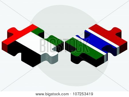 United Arab Emirates And Gambia Flags