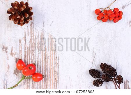 Autumn Decoration And Copy Space For Text On Wooden Background