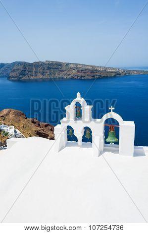 White Church In Oia Town, Santorini Island, Greece