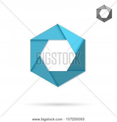 Hexagonal Icon, Origami Style