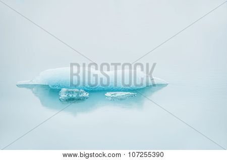Icebergs In The Water With Reflection, Morning Mist