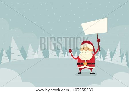 Santa Claus Banner, White Sign Board Blank Empty Copy Space