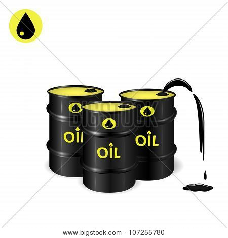Three Oil Barrels With Oil Spill And Slick
