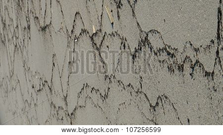 Beach With Patterns Left Behind After Wave. Baltic Sea