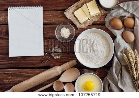 Kitchen Notebook With Blank Pages With Ingredients For Baking