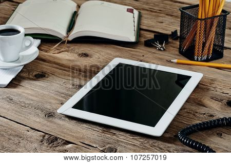 White Tablet In The Workplace