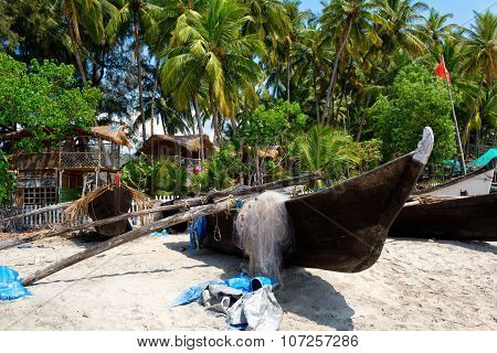 Fishing Boats On The Beach, Goa, India