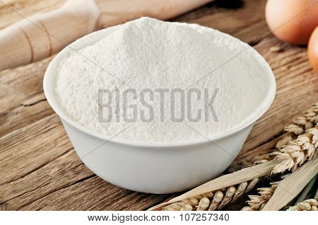 Flour In Ceramic Bowl