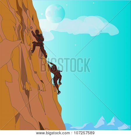 Couple Climbing Up