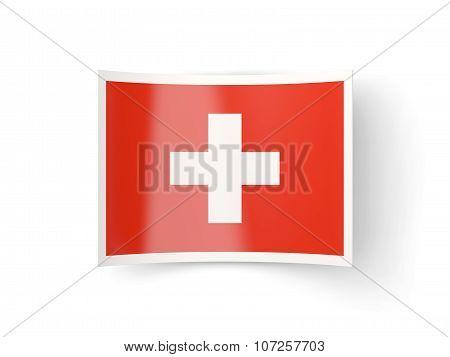 Bent Icon With Flag Of Switzerland