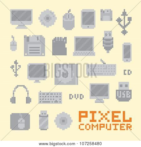 Pixel art isolated computer objects vector set