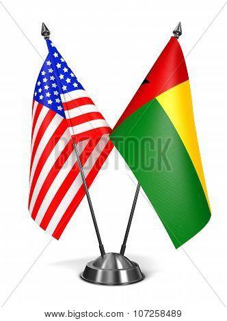 USA and Guinea-Bissau - Miniature Flags.