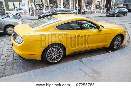 Bright Yellow Ford Mustang 2015 Car, Rear View