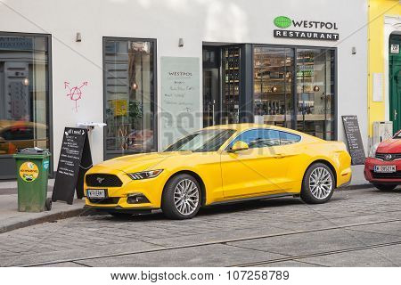 Yellow Ford Mustang 2015 Car On The Street