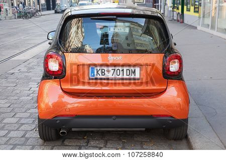 Bright Red Smart Fortwo W453 Car, Back Side