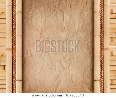 Old Paper With Bamboo Frame