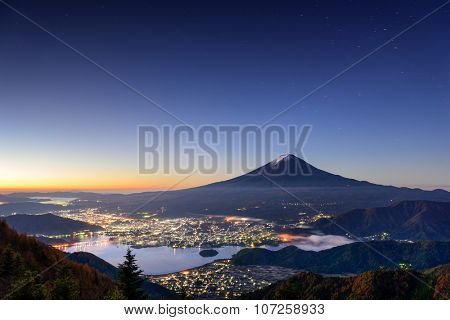 Kawaguchi Lake, Japan with Mt. Fuji.