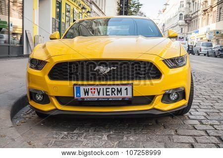 Bright Yellow Ford Mustang 2015 Car Close-up