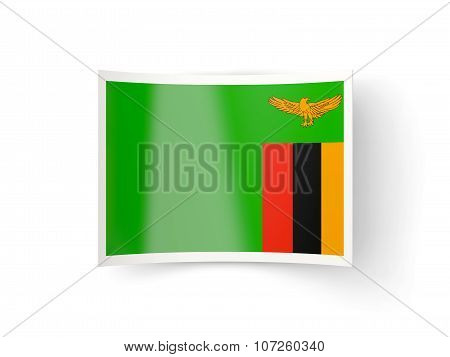 Bent Icon With Flag Of Zambia