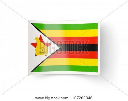 Bent Icon With Flag Of Zimbabwe