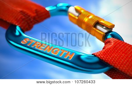 Blue Carabiner Hook with Strength Concept.