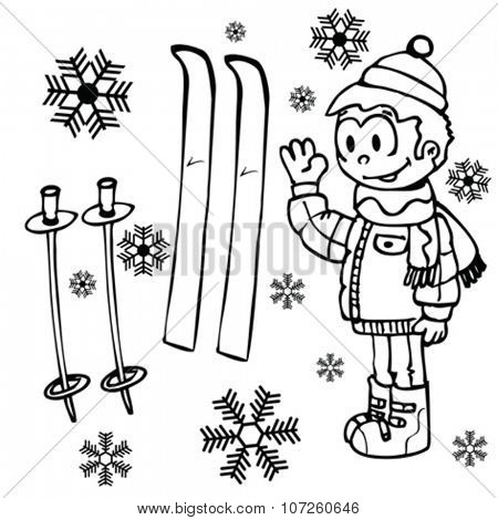 simple black and white little boy, pair of skies and snowflakes cartoon