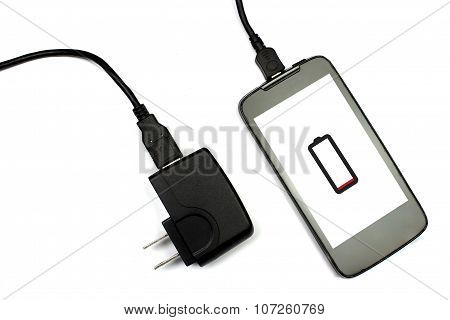 Cellphone And Charger On White Background, Isolated