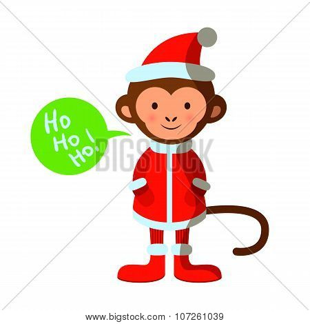 Cute Monkey In Santa Costume, Merry Christmas, Happy New Year, Year Of The Monkey 2016 Symbol, Vecto