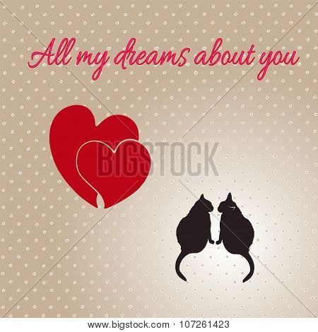 Card With Hearts And Cats For Valentines Day.eps