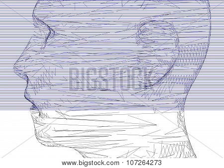 Conceptual 3D Wire Frame Human Male Head