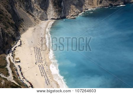 Blue beach in Greece, with panorama view